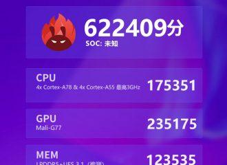 MediaTek MT6893 got 622409 points in AnTuTu