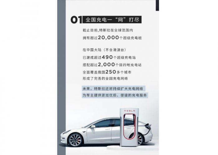 Tesla has built more than 490 super charging stations in 250 cities in China
